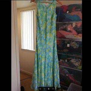 100% SILK Chadwick's green floral maxi dress, New.